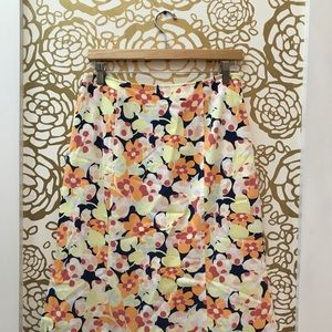 Talbots Long Calf Length Floral Wide Skirt